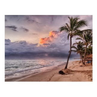 Ocean Waves Sandy Beach Sunset Postcard