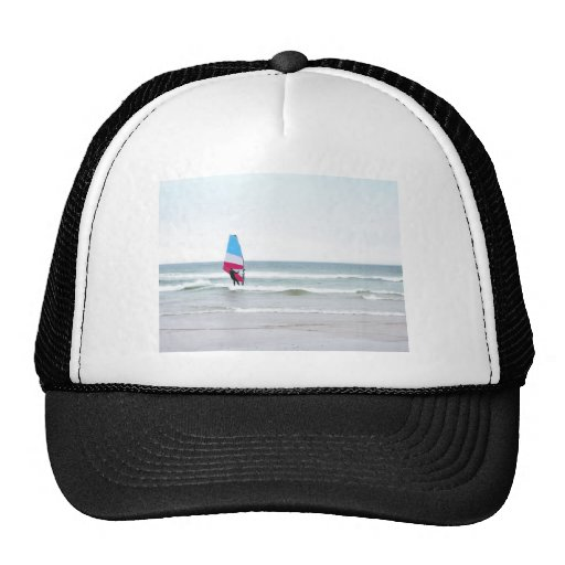 Ocean Windsurfer with Red White and Blue Trucker Hats