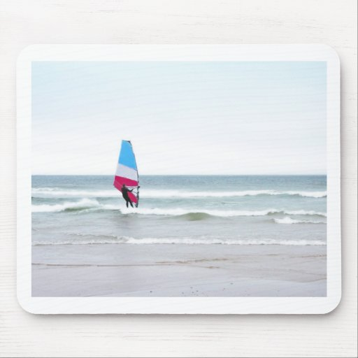 Ocean Windsurfer with Red White and Blue Mousepads