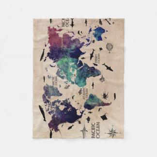ocean world map fleece blanket