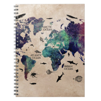 ocean world map notebook