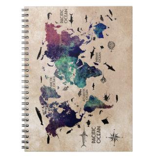 ocean world map notebook