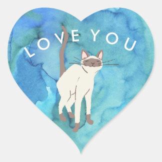 Oceanic Siamese Cat Love You Heart Sticker
