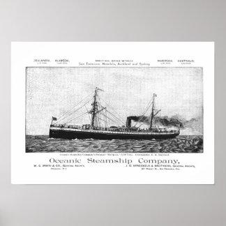 Oceanic Steamship Mariposa to Hawaii, 1890 Poster