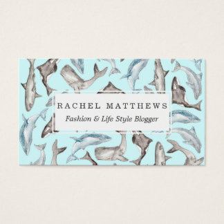 Oceanic Watercolor Fishes in Blue Black White Gray Business Card