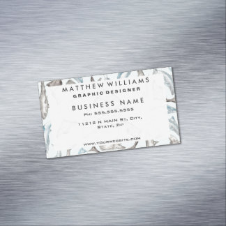 Oceanic Watercolor Fishes in Blue Black White Gray Magnetic Business Card