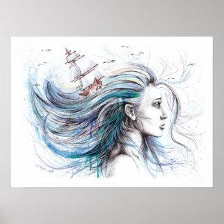 Oceans Girl surreal original art by EDrawings38 Poster