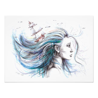 """Oceans"" Girl surreal original art Photo print"