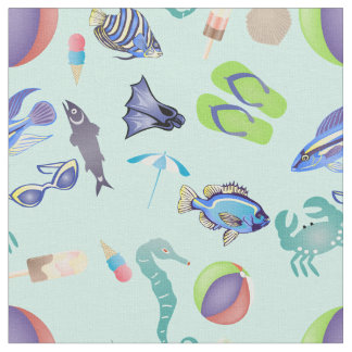 Oceanside Beach Pattern Fabric