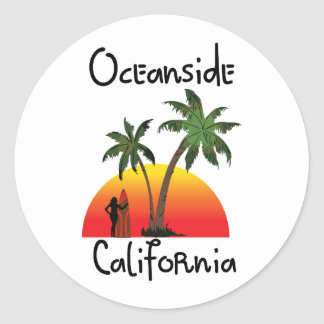 Oceanside California Classic Round Sticker