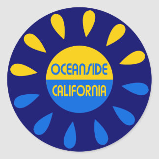 Oceanside California Classic Round Sticker