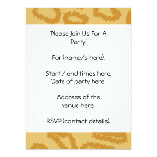 Ocelot Animal Print Pattern, Brown and Tan Colors. 17 Cm X 22 Cm Invitation Card