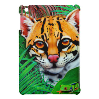Ocelot in jungle with Red Eye Tree Frog iPad Mini Cover