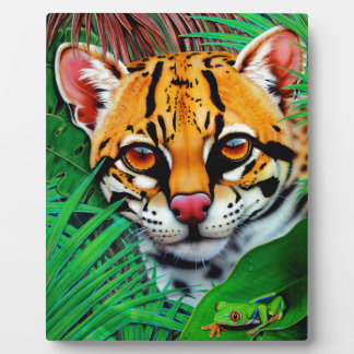 Ocelot in jungle with Red Eye Tree Frog Plaques