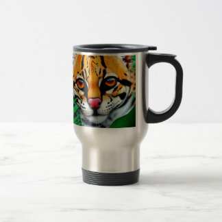 Ocelot in jungle with Red Eye Tree Frog Stainless Steel Travel Mug
