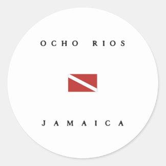 Ocho Rios Jamaica Scuba Dive Flag Classic Round Sticker