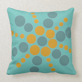 Ochre and blue dotted star on teal throw pillow