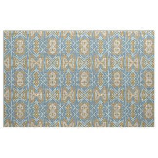 Ochre Beige Teal Blue Eclectic Ethnic Look Fabric