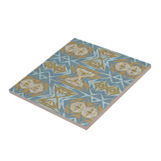 Ochre Beige Teal Blue Eclectic Ethnic Look Tile