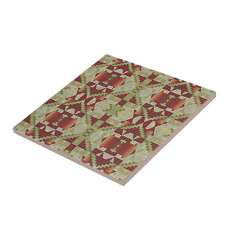 Ochre Brown Red Olive Green Eclectic Ethnic Art Tile