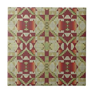 Ochre Brown Red Olive Green Eclectic Ethnic Look Small Square Tile