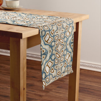 Ochre Brown Teal Blue Oriental Bali Batik Pattern Medium Table Runner