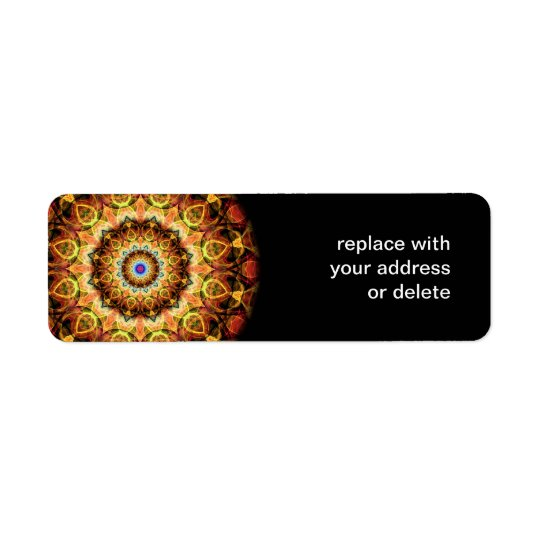 Ochre Burned Glass kaleidoscope Return Address Label