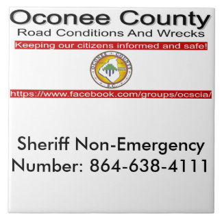 Oconee County Road Conditions and Wrecks Novelties Tile