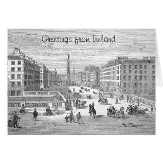O'Connell Street Vintage Dublin Ireland Greeting Card
