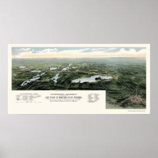 Oconomowoc and Waukesha, WI Panoramic Map - 1890 Poster