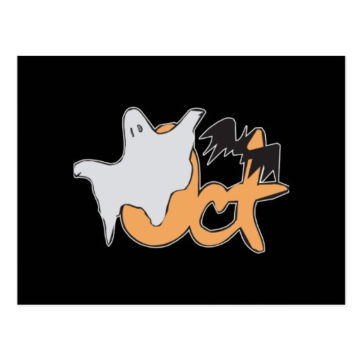 Oct Ghost and Bat Postcard