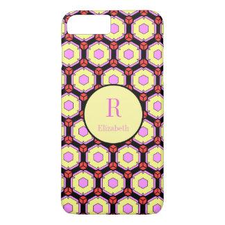Octagon Pattern, Pink, Yellow & Black, Monogram iPhone 7 Plus Case