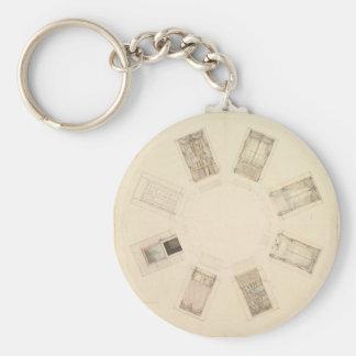 Octagonal Room Key Ring