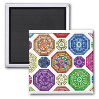 Octagonal Wheels Mandala Square Magnet