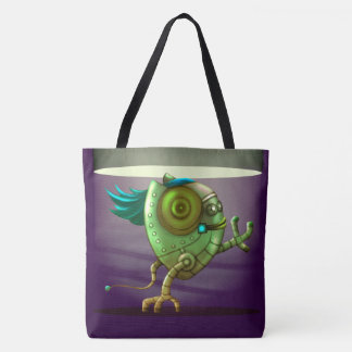 OCTO CUTE ROBOT ALIEN CARTOON TOTE BAG