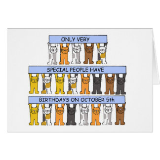 October 5th Birthdays celebrated by cats. Card
