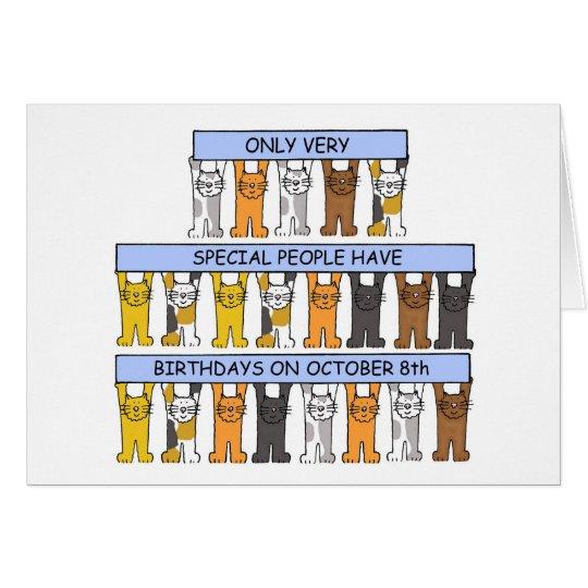 October 8th Birthday Cats Card