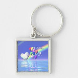 October Birthday Opal Heart Key Ring