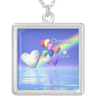 October Birthday Opal Heart Silver Plated Necklace