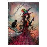 October Flame Halloween Witch Black Cat Art Greeting Card