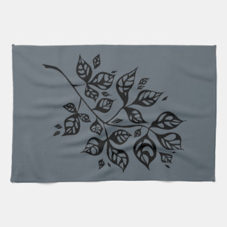 October Leaves Tea Towel - Black & Slate