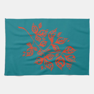 October Leaves Tea Towel - Orange & Teal