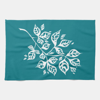 October Leaves Tea Towel - White & Teal