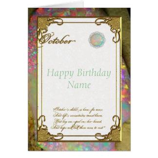 October Opal Birthstone Birthday Card