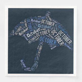 October Rain Umbrella Blue Typography Weather Disposable Serviettes