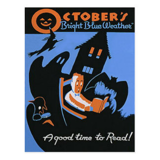 October Reading Library Halloween Poster Postcard
