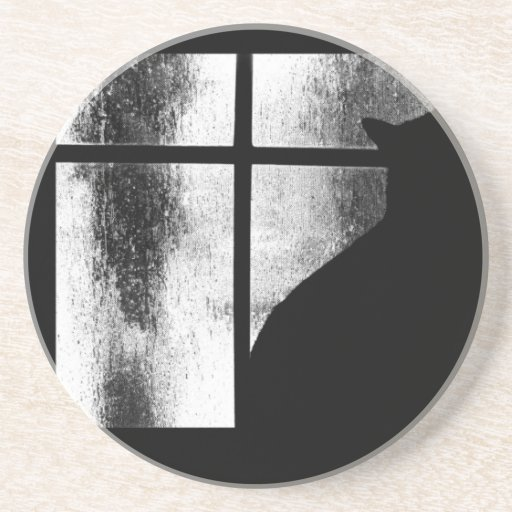 October Showers Black Cat Silhouette At Window BW Drink Coasters