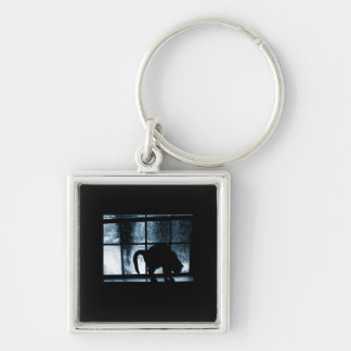 October Showers Cat Silhouette At Window 2 Blue Key Chain