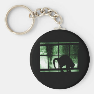 October Showers Cat Silhouette At Window 2 Green Key Chain