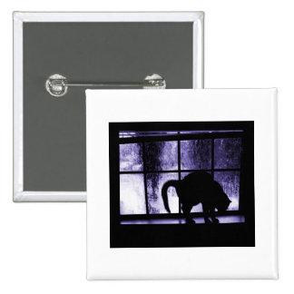 October Showers Cat Silhouette At Window 2 Indigo Pinback Button